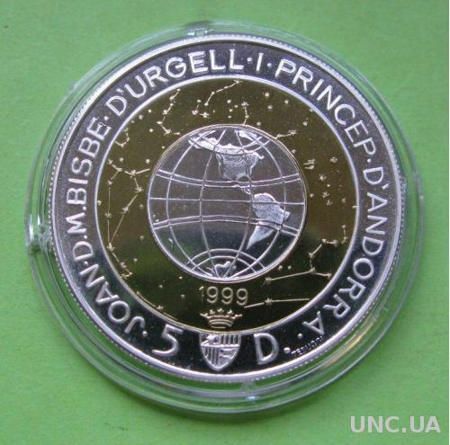 Андорра 5 динаров 1999 г. Миллеиум.