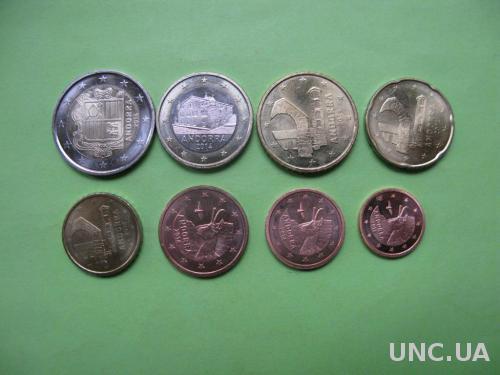Андорра набор евро монет 2014 г. от 1 цента до 2 евро ,UNC