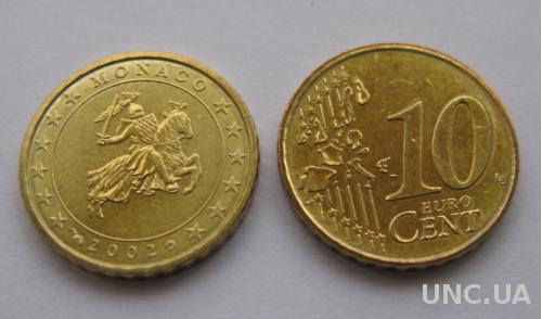 Монако  10 евро центов 2002 г.   UNC.
