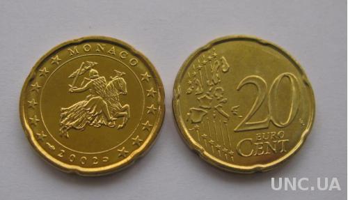 Монако  20 евро центов 2002 г.   UNC.