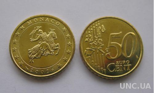 Монако  50 евро центов 2002 г.   UNC.