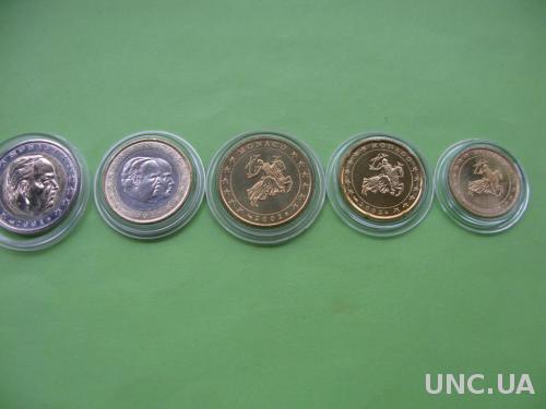 Монако , набор евро монет от 10 центов до 2 евро , UNC.