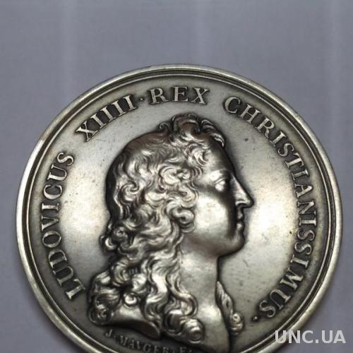 Серебрянная медаль брак Людовика XVІ Марии Терезии Жан Можер Франция, 1660 год, RARE!Оригинал! RRR!