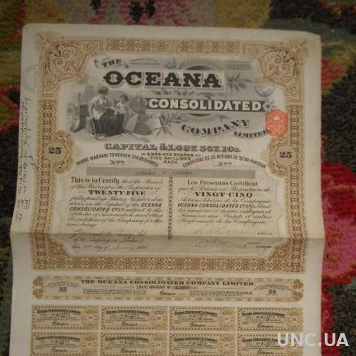 """АКЦИИ """"THE OCEANA CONSOLIDATED COMPANY LIMITED"""" - 25 АКЦИЙ – 1929 г."""