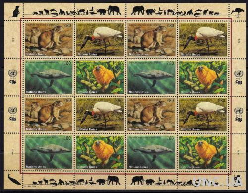 ООН Швейцарский,фауна,киты, птицы,обезьяны,м/л-20 михель евро