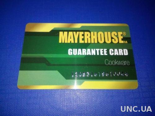 MAYERHOUSE Guarantee Card (карточка)