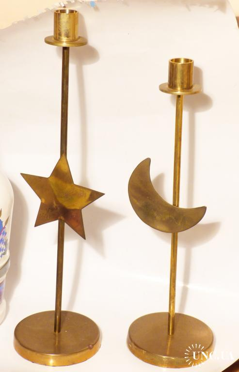 2  подсвечника -   германия - 23,7 см - арт деко -  звезда и полумесяц - латунь 35,5 и 40,5 см
