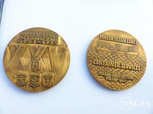 2шт. - медаль - настольная - 7 см -  Польские океанские линии -