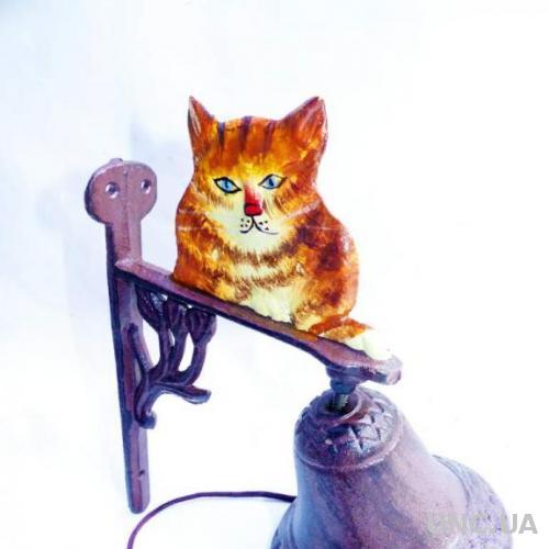 дверной колокольчик - чугун - кот котик