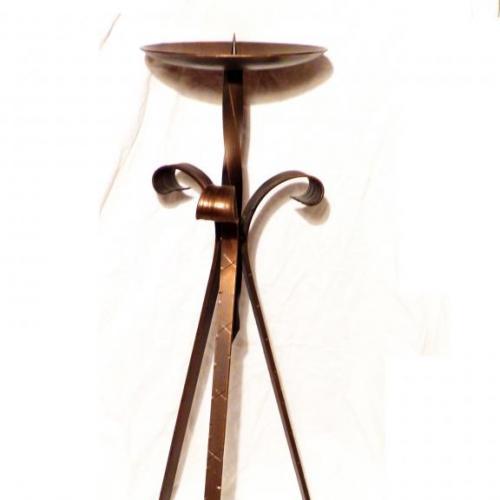 напольный  подсвечник --  кованый - омедненный - германия - 57 см --