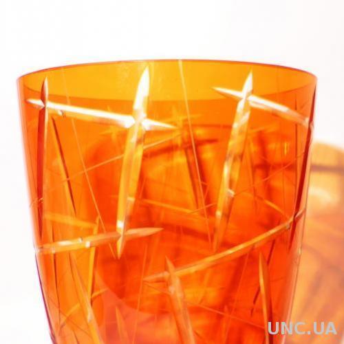 Ваза алмазная грань красное двухслойное стекло =