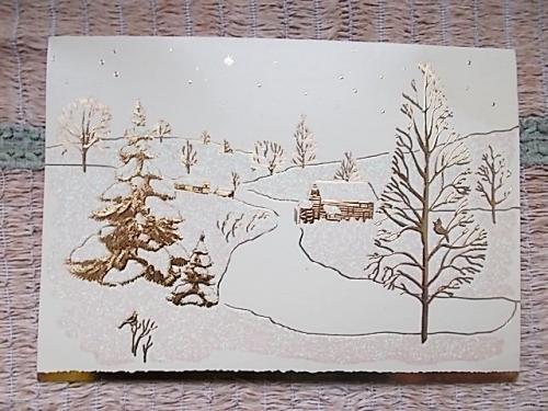 Открытка новогодняя, рождественская. Золотой и серебристый рисунок. PAPER MAGIC GROUP
