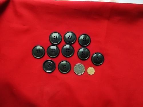 Пуговицы черные большие 10 штук Д=28 мм, раритет из СССР