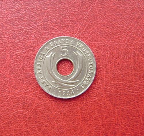 Британская Восточная Африка - Уганда 5 центов 1914 К XF. Бирмингем. Редкая