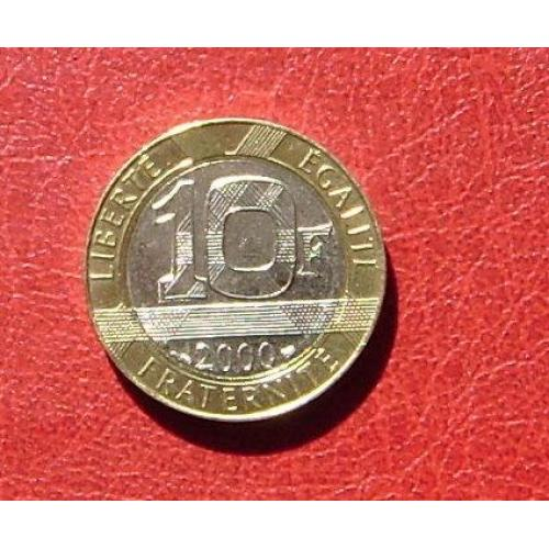 Франция 10 франков 2000 UNC Редкая