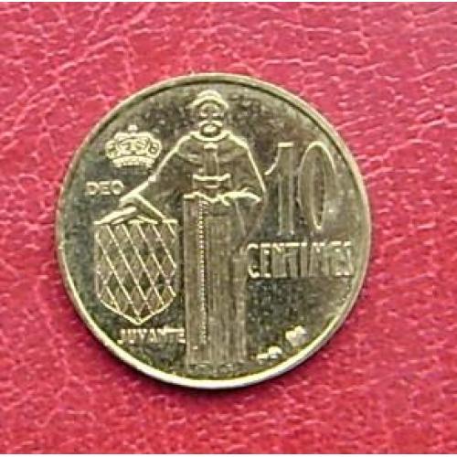 Монако 10 сантимов 1995 UNC. Редкая тир 30 тыс.