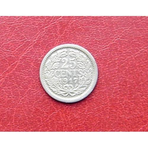 Нидерланды 25 центов 1917 Редкая