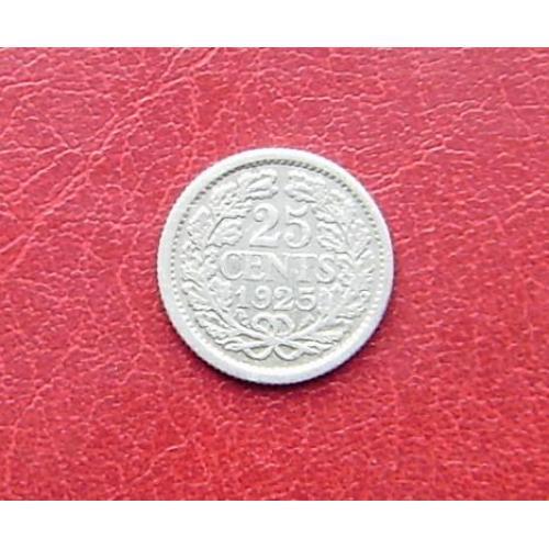 Нидерланды 25 центов 1925 Редкая