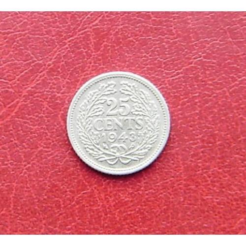 Нидерланды 25 центов 1943 P XF. Филадельфия, США. Редкая