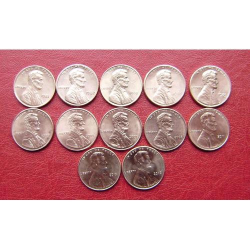США 1 цент 1981 - 2014. см. прим.