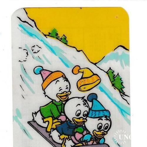 Календарик 1989 ПЛАСТИК тонкий Мультфильм, Disney, Утиные Истории, Болгария