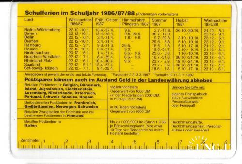 Календарик-линейка 1987 ПЛАСТИК, Германия