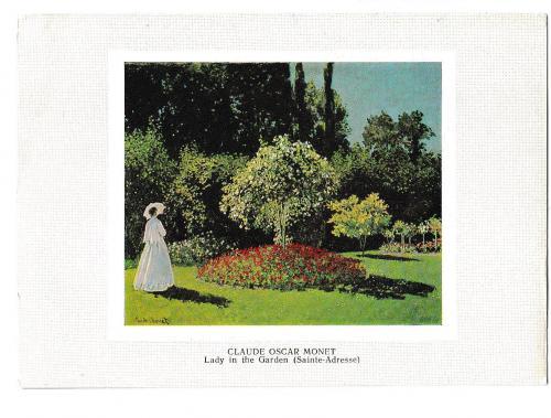 Открытка 1980 Живопись, искусство, Дама в саду, худ. Клод Оскар Моне, Эрмитаж, Олимпиада