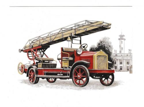 Открытка Авто, пожарная автолестница Magirus 1921
