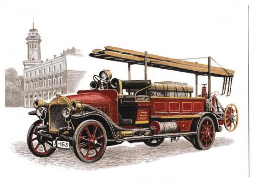 Открытка Авто, пожарный автонасос Benz Gaggenau 1916
