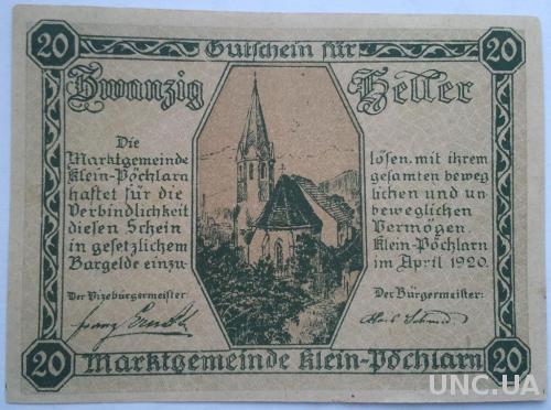 Нотгельд Австрия Klein Sochlarn 20 геллеров