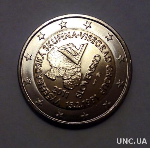 Словакия 2 евро 10 лет Вышеградской группе UNC