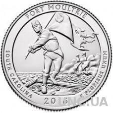 25 центов США Форт Маултри парк Каролина Fort Moutrie 2016 г. США