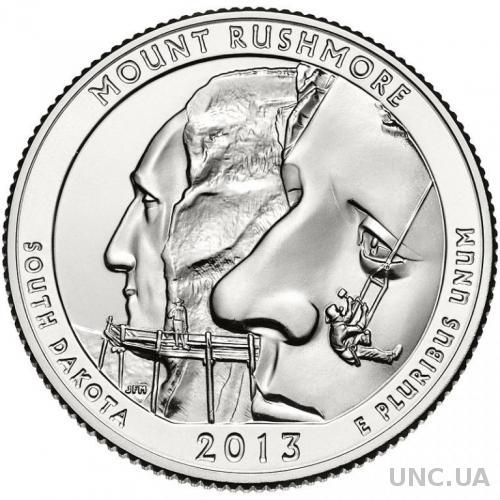 25 центов США Южная Дакота, Национальный мемориал Маунт-Рашмор 2013 г. из ролла