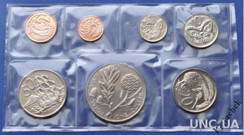 Новая Зеландия набор 1981 г. 1, 2, 5, 10, 20, 50 центов и 1 доллар Королевский визит UNC в запайке