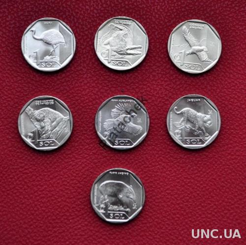 Перу 1 соль Кондор, медведь, страус  всего 7 монет одним лотом,  серия исчезающая дикая природа Перу