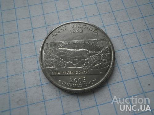 США 2005 рiк (Р) 25 центів Західна Вірджинія.