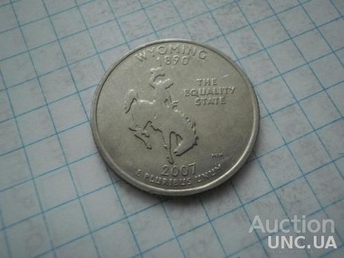 США 2007 рiк (P) 25 центів Вайомінг.