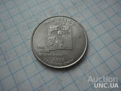 США 2008 рiк (P) 25 центів Нью-Мексико.
