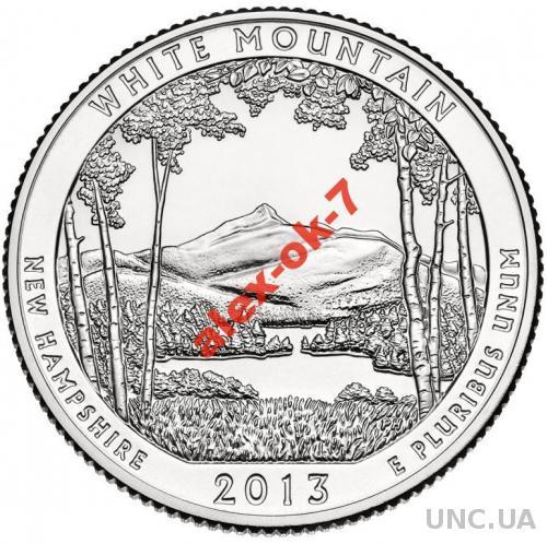 США 25 центов Белая гора 2013 - 16-й парк!!!