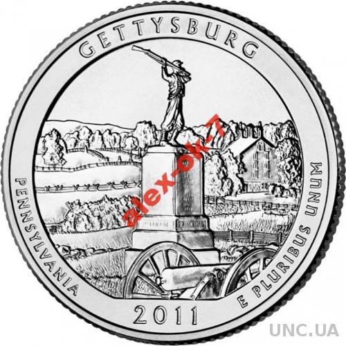 США 25 центов Геттисберг - Gettysburg - 6-й парк
