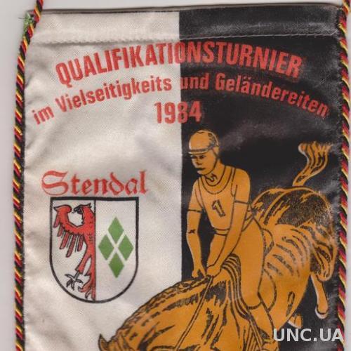 ГДР 1984 Вымпел. Конный спорт г. Стендаль.