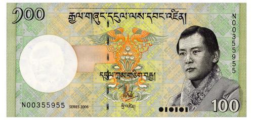 БУТАН 32a BHUTAN 100 NGULTRUM 2006 Unc