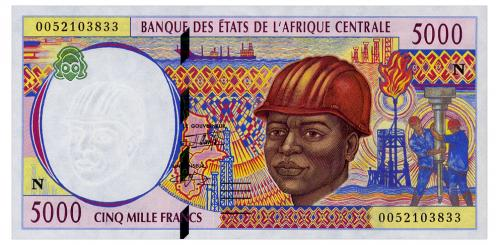 ЦЕНТРАЛЬНАЯ АФРИКА 504Nf CENTRAL AFRICAN STATES EQUATORIAL GUINEA 5000 FRANCS 2000 Unc