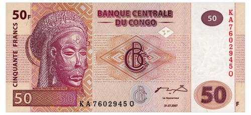 КОНГО 97 CONGO DEMOCRATIC REPUBLIC 50 FRANCS 2007 Unc