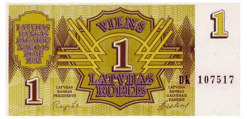 ЛАТВИЯ 35 LATVIA 1 RUBLIS 1992 Unc