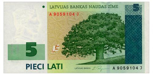 ЛАТВИЯ 49b LATVIA 5 LATI 2001 Unc