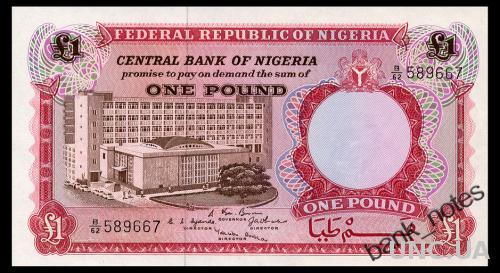 НИГЕРИЯ 8 NIGERIA 1 POUND ND(1967) Unc