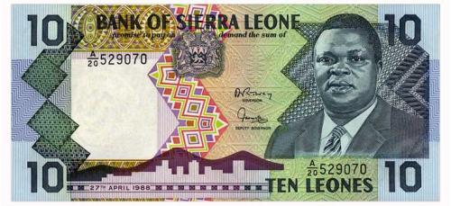 СЬЕРРА ЛЕОНЕ 15 SIERRA LEONE 10 LEONES 1988 Unc