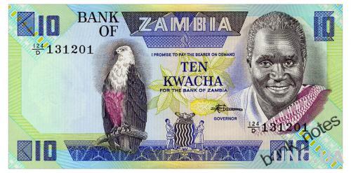 ЗАМБИЯ 26e ZAMBIA 10 KWACHA ND(1980-88) Unc