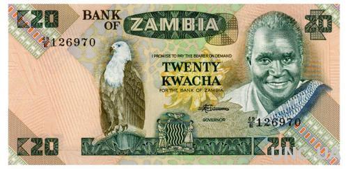 ЗАМБИЯ 27e ZAMBIA 20 KWACHA ND(1980-88) Unc